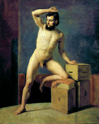 Nude Male Standing w Boxes 8.5x11quot; Photo Print Gustav Klimt Naked Man Fine Art