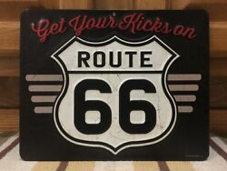 Get Your Kicks On Route 66 Gas Oil Parts Road Trip Highway Auto Diner Wall Decor