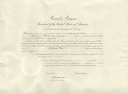 Ronald Reagan - Document Signed 10/04/1982 Co-signed By Kenneth W. Dam
