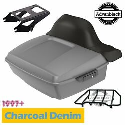 Charcoal Denim King Tour Pack Trunk Luggage For 97+ Harley Davidson Touring
