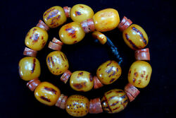 African Amber Tribal Bead Necklace Ethiopian Old Burnt Resin Beads Ethnic 20