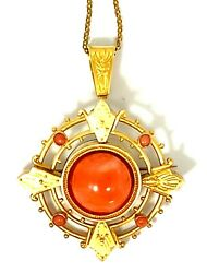 Original Antique Victorian 18k Yellow Gold Coral Pin - Pendant On Vintage Chain