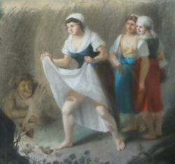 Unusual Antique 19th Century European Oil On Animal Hide Erotic Genre Painting