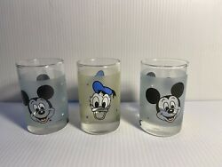 Lot Of 3 Libbey Walt Disney Frosted Juice Glasses2 Mickey Mouse1 Donald3.5
