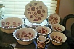 Pv Italy Italian Pottery Dinnerware Set Of 13 Brick Red And Blue Tree Speckled