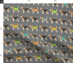 Beagle Black And Grey Domestic Animals Blue And Spoonflower Fabric by the Yard