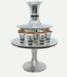Malachith And Made Hammered Silver Judaica Kiddush Wine Fountain Cups Goblet