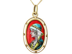 Antique French Enamel And 18carat Yellow Gold Pendant