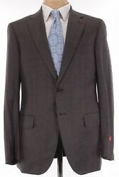 Isaia Nwt Suit Size 46r In Brown W/ Blue Plaid Light Flannel Wool Sanita 3,995