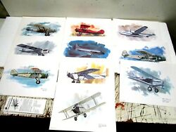 A 10 United Airlines Nixon Galloway Collectors Series Aircraft Prints W/cards