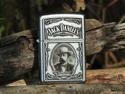Zippo Lighter - Jack Daniels Cameo Emblem - Old No. 7 Tennessee Whiskey - 28343