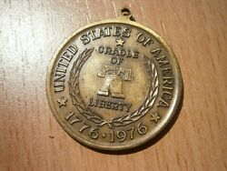 Brass Medallion Spirit Of And03976 1776 1976 Cradle Liberty Bell Medal Medaille Usa