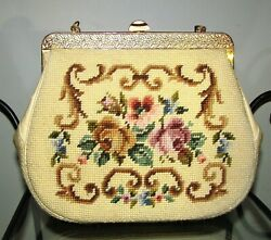 VINTAGE FLORAL ROSES NEEDLEPOINT FRAME PURSE FRENCH BAG GOLD CHAIN $129.95
