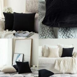 Pack Of 2 Velvet Pillow Covers Decorative Square Pillowcase Soft Solid Cushion