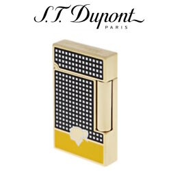 St Dupont Cohiba Collection Ligne 2 Lighter Soft Flame Black And Yellow Lacquer