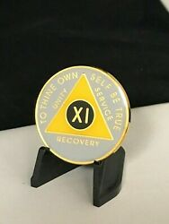 11 Year Yellow And Grey Aa Medallion -- Alcoholics Anonymous Chip
