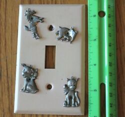1 Vintage Metal Outlet Cover Single Light Switch Animal Charms Dog Elephant Cat