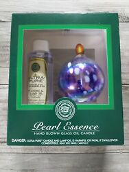Lamplight Farms Pearl Essence Blue Hand Blown Glass Oil Candle