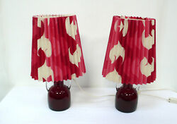 Two 70s Table Lamps Pleated Textile Shade Red White, Red Glass Base W/ Handles