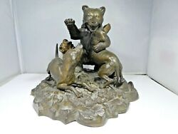 Rare 19th C French Bronze Mechanical Inkwell Of A Fighting Bear With Two Dogs
