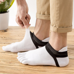 6 Pack Mens Combed Cotton Ankle Socks Five Finger Toe Casual Sport Mesh Low Cut