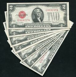 7 Consecutive Fr. 1508 1928-g 2 Legal Tender United States Notes Uncirculated