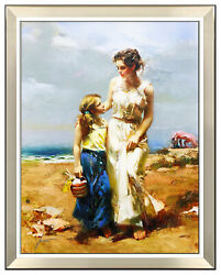 Pino Daeni By The Sea Hand Embellished Giclee On Canvas Large Signed Framed Art