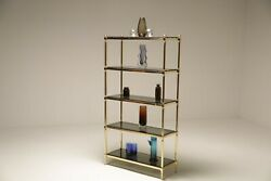 Mid Century Brass And Glass Etagere/shelving Unit
