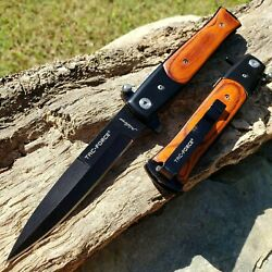 8.5quot; STILETTO FOLDING POCKET KNIFE SPRING ASSISTED OPEN WOOD HANDLE BLACK BLADE