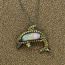 Opal Fancy Colored Diamond Ruby Gold Dolphin Pendant 1.85ctw