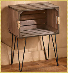 Rustic Wooden Crate Bed Sofa End Side Accent Table Farmhouse Country Home Decor