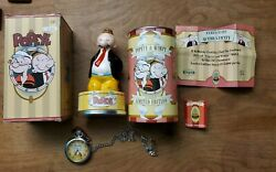 Vintage 1997 Fossil Popeye And Wimpy Limited Edition Pocket Watch And Figurine...