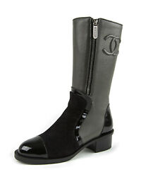 Women's Patent/suede Leather High Boots Ag34131 It Sz 36 2,795 New