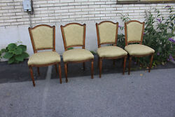 Set Of Four French Provincial Country French Newly Upholstered Dining Room Chair