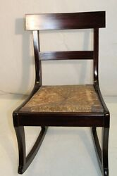 Antique Empire Mahogany Rocking Chair With Rush Seat