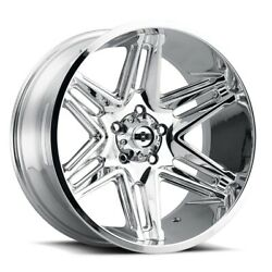 Four 4 24x12 Vision Off-road 363 Razor Et -51 Chrome 5x5 5x127 Wheels Rims