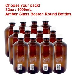 32oz/1000ml Certified Sterile Amber Glass Boston Round Bottles With White Cap