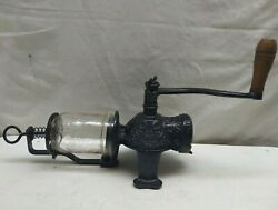 Arcade Crystal Wall Mount Cast Iron Manual Coffee Grinder Herb Mill No Top Part
