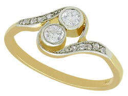 Antique 1920s 14ct Yellow Gold Twist Ring 0.31ct Diamond Engagement Ring Size L