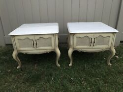 Vintage / Retro Marble Top French Provincial Style Furniture End Tables