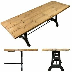 Antique Plank Top Table Refectory With Cast Iron Legs - Rye21