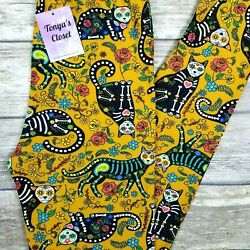 PLUS Sugar Skull X Ray Cat Leggings Cats Flowers Floral Buttery Soft 10 18 $15.95