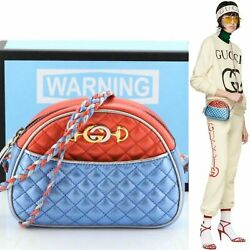 Trapuntata Crossbody Quilted Metallic Red Blue Silver Bag 541052 28512e