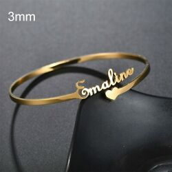 Personalized Women Bracelets 925 Silver Open Cuff Bangle Any Name Birthday Gifts $9.99