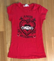 E.C. Star Women#x27;s Cap Sleeve T shirt red Mexican style heart art Amor Muerte $14.95