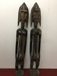 Wonderful Pair Of Midcentury African Dogan Male And Female Wood Carved Statutes