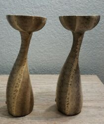 Vintage Pair Snakeskin Python Candle Holders By Luisa Robinson