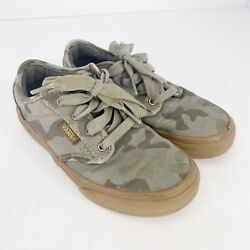 Vans Off The Wall Kids Child Size Youth 13 Green Camo Camouflage Sneakers Shoes