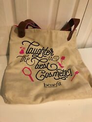 BENEFIT COSMETICS Laughter is the Best Cosmetic Large Canvas Tote Bag $9.99