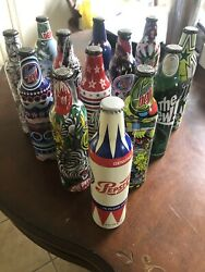 Collectible Green Label Art Mountain Dew Aluminum Bottles Unopened With 1 Pepsi